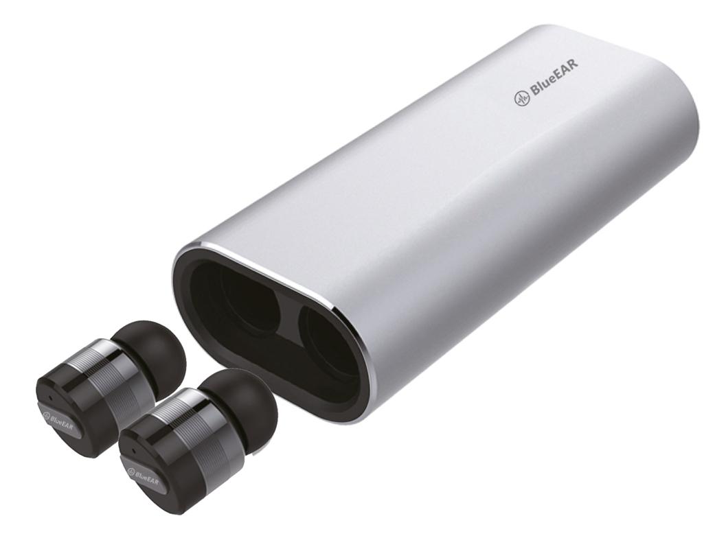 Bezdrátová bluetooth sluchátka s powerbankou, metalická šedá