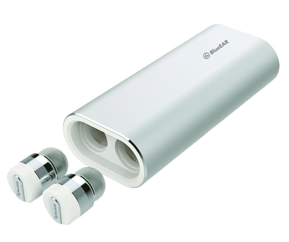Bezdrátová bluetooth sluchátka s powerbankou, stříbrné